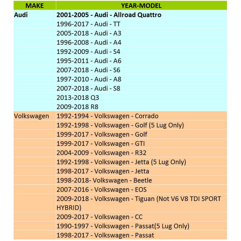 Amazon.com: WEELTK 4pc fits Audi Volkswagen Hubcentric Wheel Spacers ...