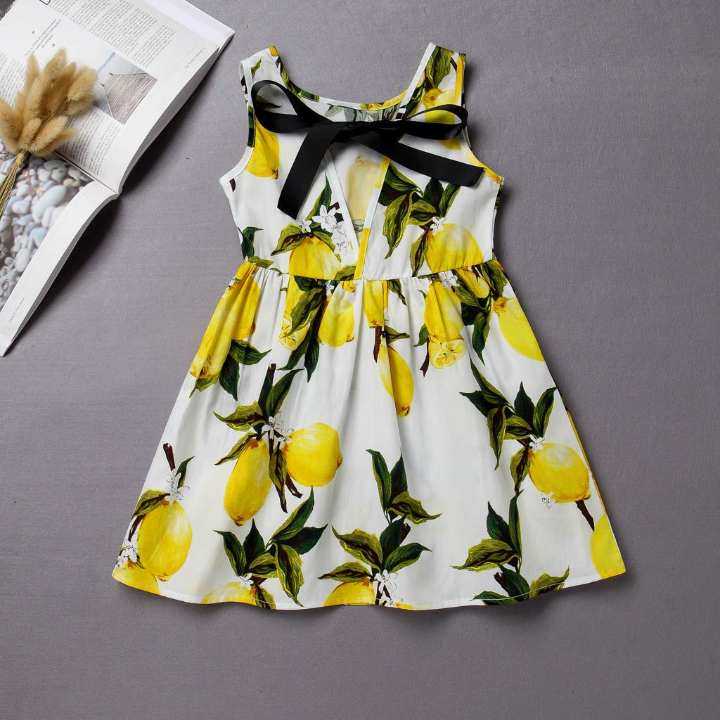 Fabal Toddler Baby Kids Girls Sleeveless Sunflowers Skirt Princess Dresses Clothes White