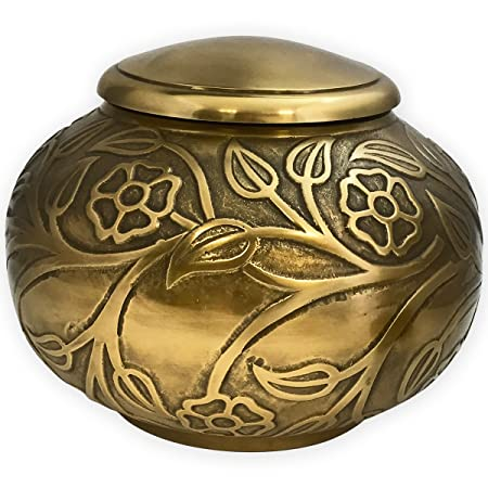 Beautiful Life Urns Florence Antiqued Brass Adult Cremation Urn – Unique Funeral Urn with Raised Floral Pattern Large