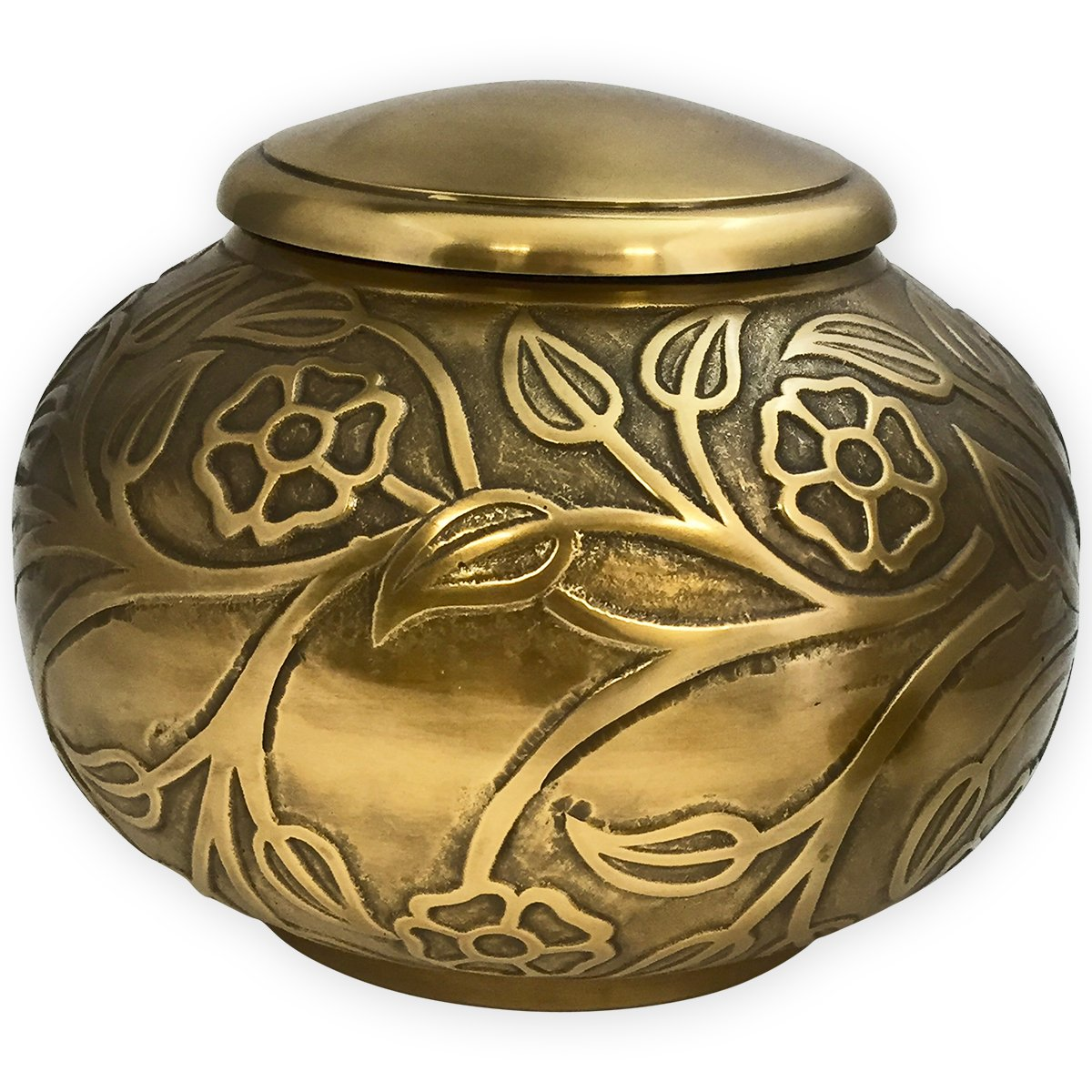 Beautiful Life Urns Florence Antiqued Brass Adult Cremation Urn - Unique Funeral Urn with Raised Floral Pattern (Large)