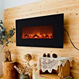 """FLAME&SHADE Electric Fireplace with Heater - 42"""" Flat Panel - Free Standing - Wall Hanging - Realistic Logset Flame - Timer - Remote Control - 1500/750w Heat - Black"""