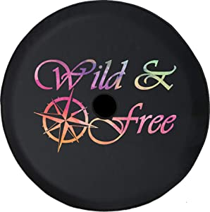 American Unlimited JL Spare Tire Cover Watercolor - Wild and Free Compass JL Spare Tire Cover with Backup Camera Hole BUC (Fits: Jeep JL Accessories) Black 32 inch