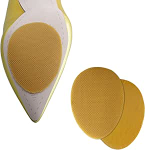 Non-Slip Shoes Pads 5 Pairs Self-Adhesive Shoe Grips Rubber Anti-Slip Shoe Grips can Non-Slip Noise Reduction (Yellow)