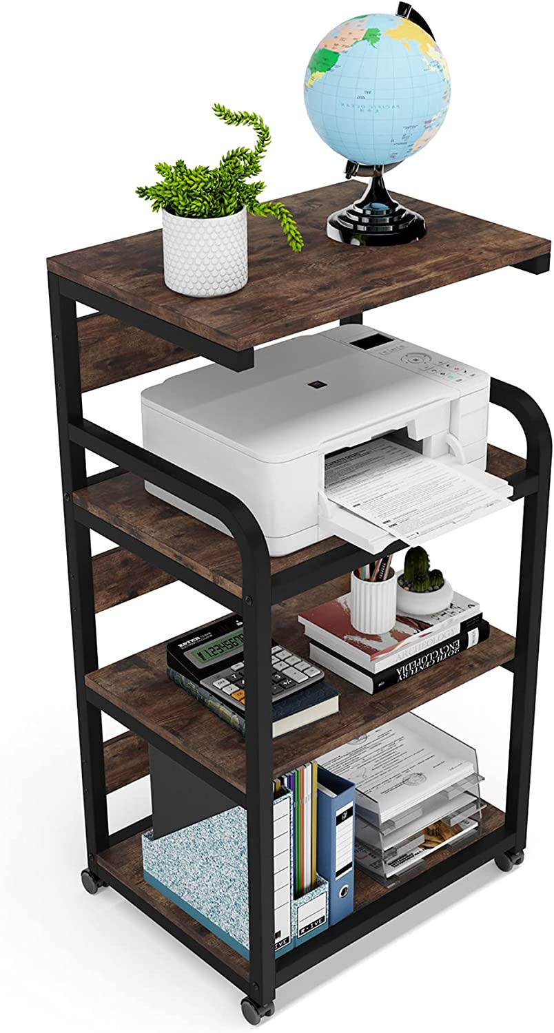 Tribesigns 4-Shelf Mobile Printer Stand with Storage Shelves, Large Modern Printer Cart Desk Machine Stand Storage Rack on Wheels for Home Office(Rustic Brown)