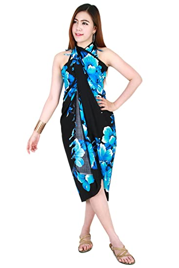 062af668bb Image Unavailable. Image not available for. Color: Flower Sarong Pareo Wrap  Dress Skirt Beach Cover up Swimwear Black sa254s