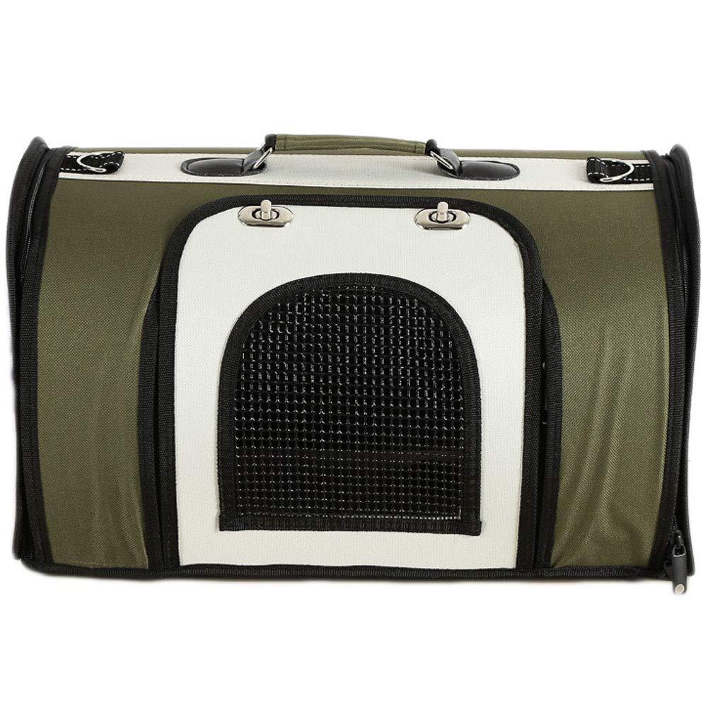 M HAOJINFENG Dog Out Bag Breathable Zipper Open Door Portable Dog Bag Teddy Back Dog Bag Carrier Green