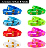 Silicone Bracelet, Emoji Silicone Wristbands Bracelets For Kids Party Bag Fillers, Novelty Emoji Party Supplies Gift For Children 32 Pack in 2 Size