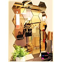 Bikri Kendra® Hexagon 20 Golden Mirror - 3D Acrylic Mirror Wall Stickers for Home & Office