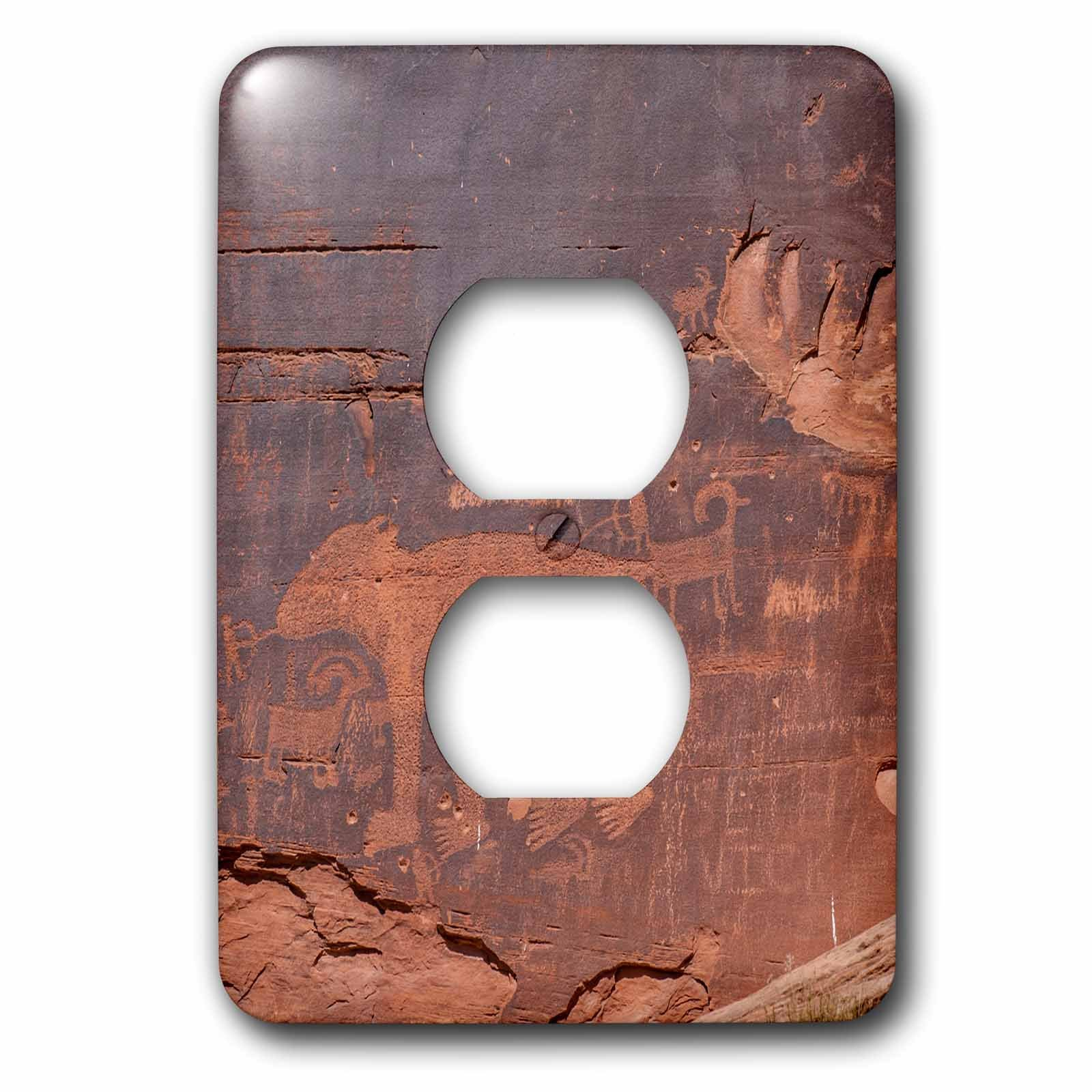 3dRose lsp_260359_6 Petroglyphs Rock Art, Arches National Park, Utah, USA Plug Outlet Cover, Mixed