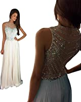 Women's Sparkly Crystal Prom Dresses Long 2017 Beading Chiffon Wedding Party Gowns Formal XY003