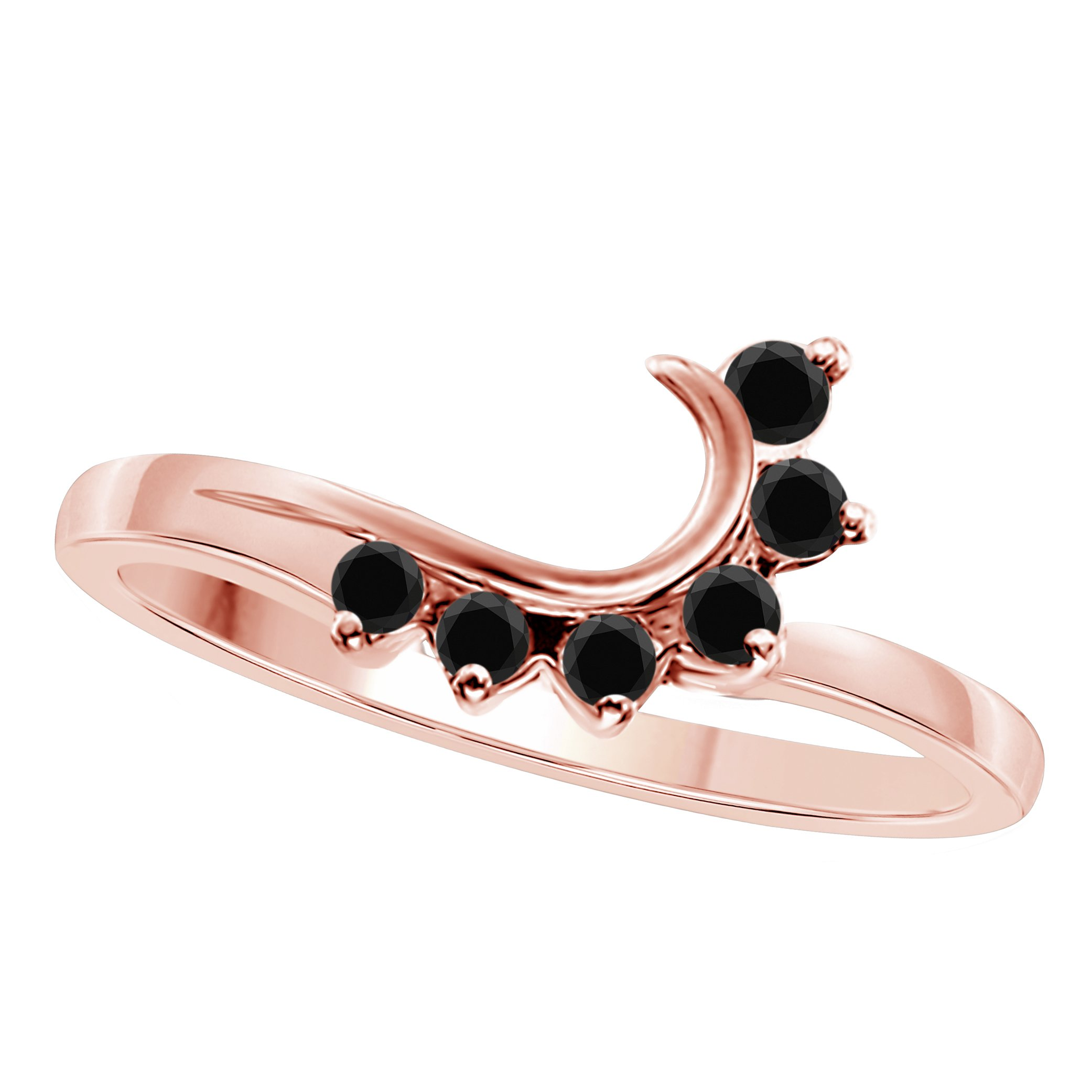 DreamJewels 14K Rose Gold Plated Alloy Round CZ Black Sapphire Wedding Band Enhancer Guard Double Ring