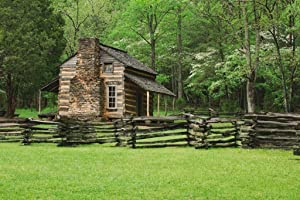 A Fence and Cabin in Smoky Mountain National Park Photo Photograph Cool Wall Decor Art Print Poster 36x24