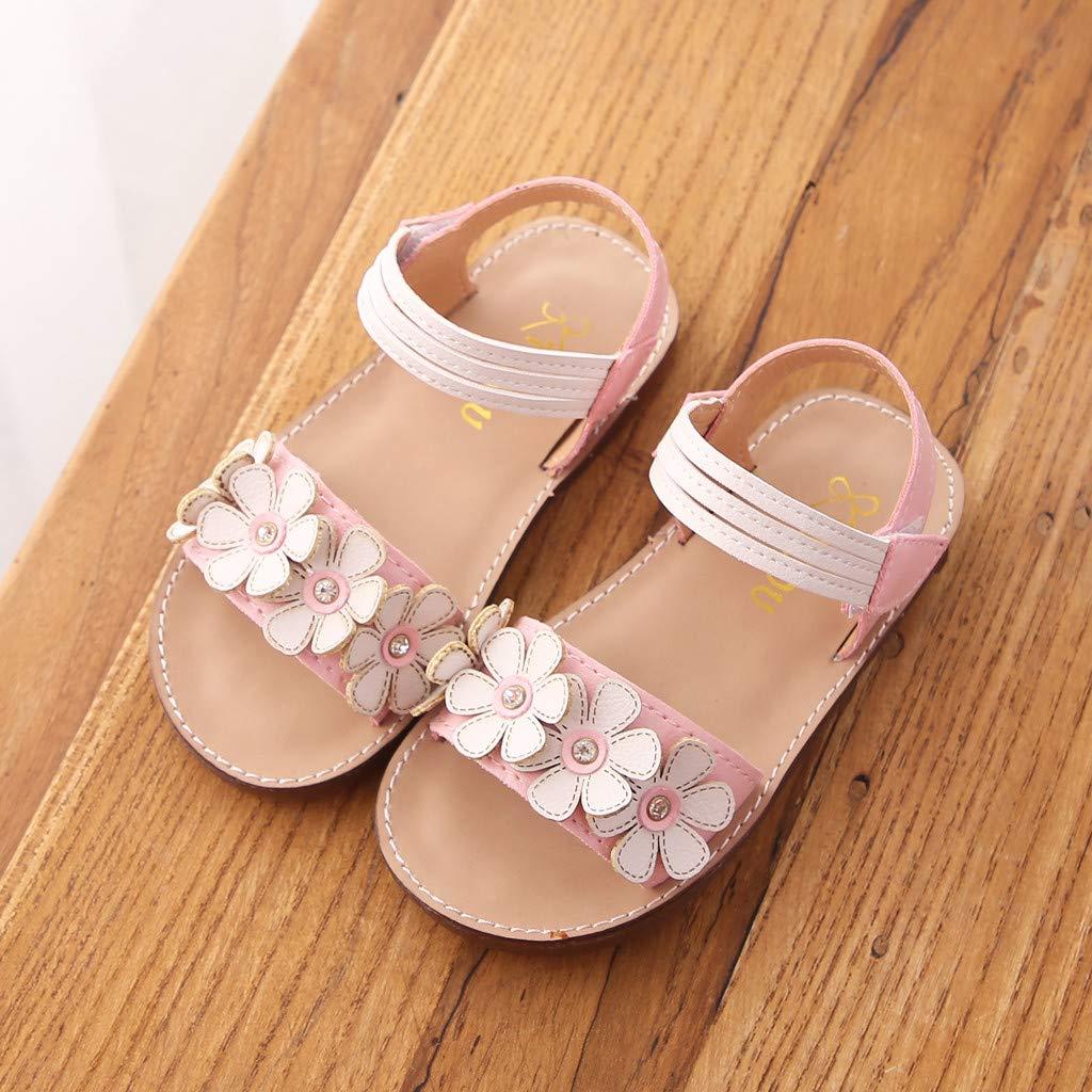 Sandalias ni/ña Verano Riou Ni/ñas Infantiles Flores Zapatos Princesa geniales Velcro Ajustable Antideslizante Bebe Chicas Zapatos Calzado Fiesta de Zapatos de Baile 21-30