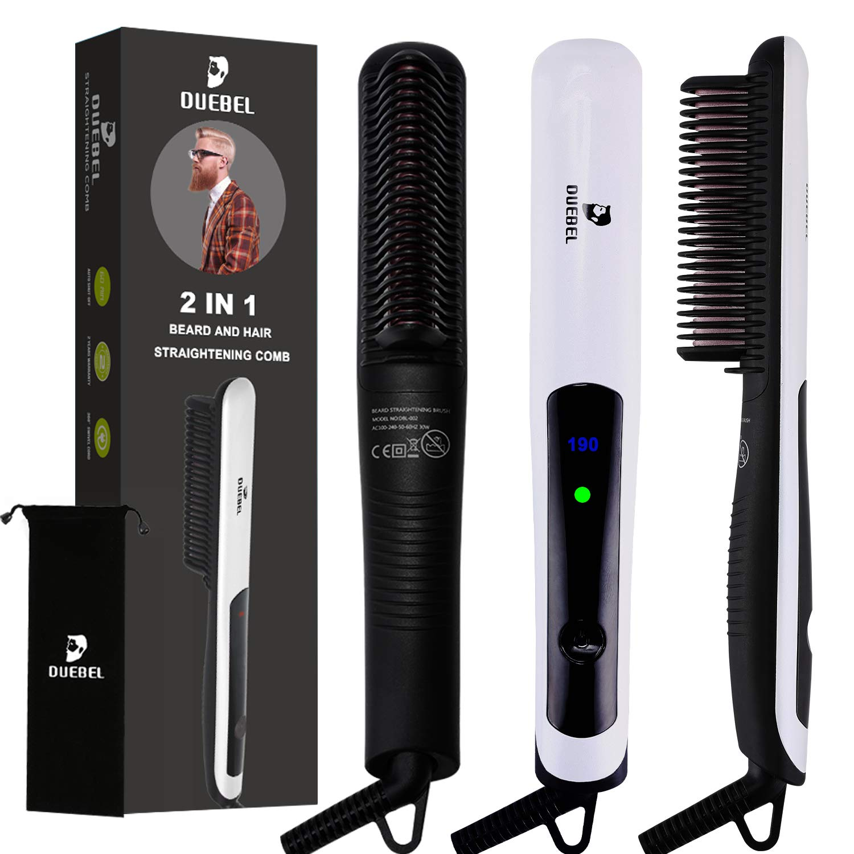 DUEBEL Beard Straightener for Men Beard Straightening Brush Anti Scald Electric Iron Beard Hot Comb Ionic Heated Hair Straightening Irons Heated Comb