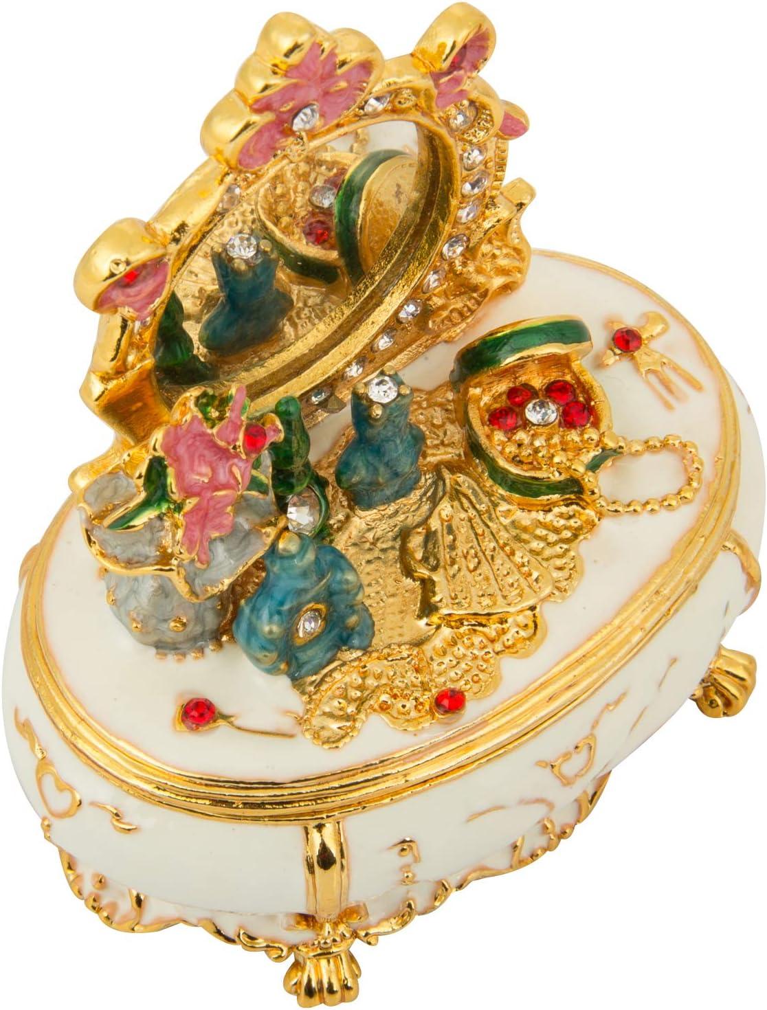 Qifu Style vintage peinte /à la main en forme de coiffeuse Bijoux Bo/îte /à bijoux avec de riches en /émail et strass /étincelants Meilleur Ornement votre collection Cadeau unique Home Decor
