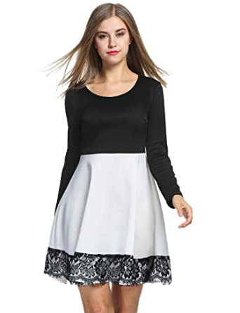 46b8f8c30e ACEVOG Women's Long Sleeve A Line Fit Flare Dress Vintage Lace Patchwork  Swing Skate Dress at Amazon Women's Clothing store: