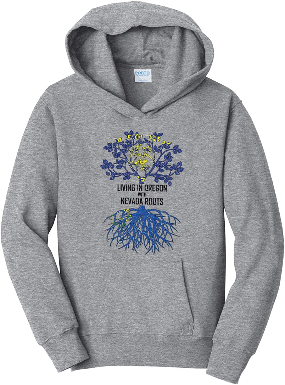 Tenacitee Girls Living in Oregon with Nevada Roots Hooded Sweatshirt
