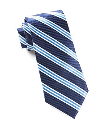 64c6e688e93a Image Unavailable. Image not available for. Color: The Tie Bar 100% Woven  Silk Navy Striped Tie