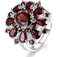 Haluoo Pomegranate Ruby Ring, Fashion Women Water Drop Red Diamond Ring Luxurious Red Gemstone Flower Diamond Engagement…