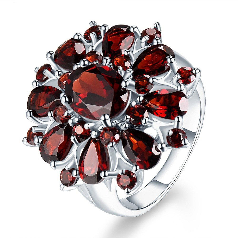 XBKPLO Rings for Women Pomegranate Ruby Diamond Wedding Accessories Jewelry Gift Size 6-10 (10) by XBKPLO (Image #1)