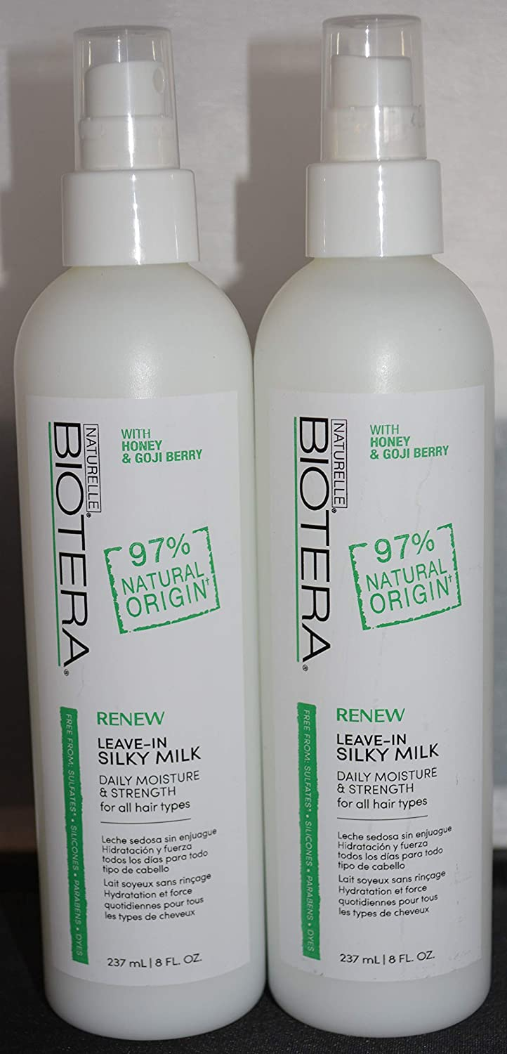 Amazon.com : Biotera Renew Leave-In Silky Milk 8oz (2 pack) - 97% Natural Origin - Paraben Free - Dye Free : Beauty