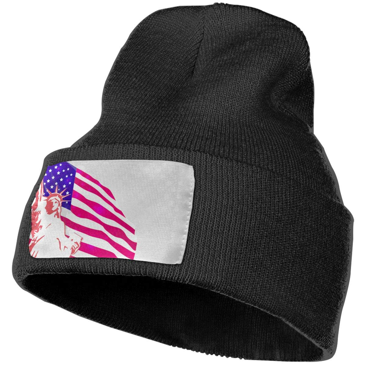 JimHappy American Flag Hat for Men and Women Winter Warm Hats Knit Slouchy Thick Skull Cap Black