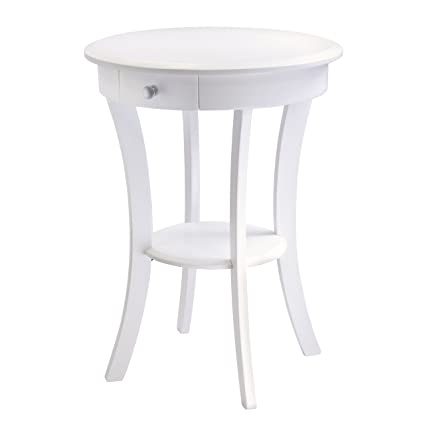 Superbe Winsome Wood Sasha Accent Table With Drawer, Curved Legs, White Finish