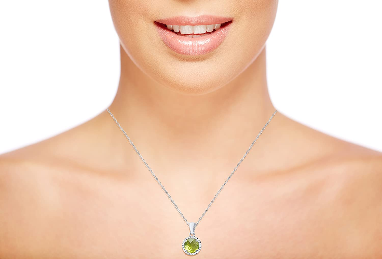 10K White Gold 7mm Round Gemstone /& 0.12 CTTW Diamond Halo 18 Rope Chain Necklace