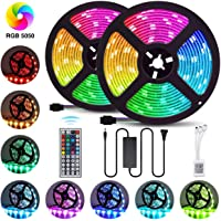 LED Strip Lights 32.8FT/10M 300 LEDs SMD5050 RGB Strip Lights Non-Waterproof Rope Lights Color Changing Tape Light Kit with 44 Keys IR Remote Controller & 12V 6A Power Supply