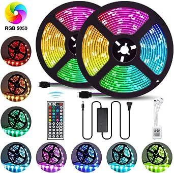 LED Strip Lights 32.8FT/10M 300 LEDs SMD5050 RGB Strip Lights Non-Waterproof Rope Lights Color Changing Tape Light Kit with 44 Keys IR Remote Controller & 12V 6A Power Supply