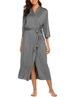 Ekouaer Women s Long Soft Kimono Robes Knit Bathrobe Comfort Sleepwear  Loungewear 5290643c7