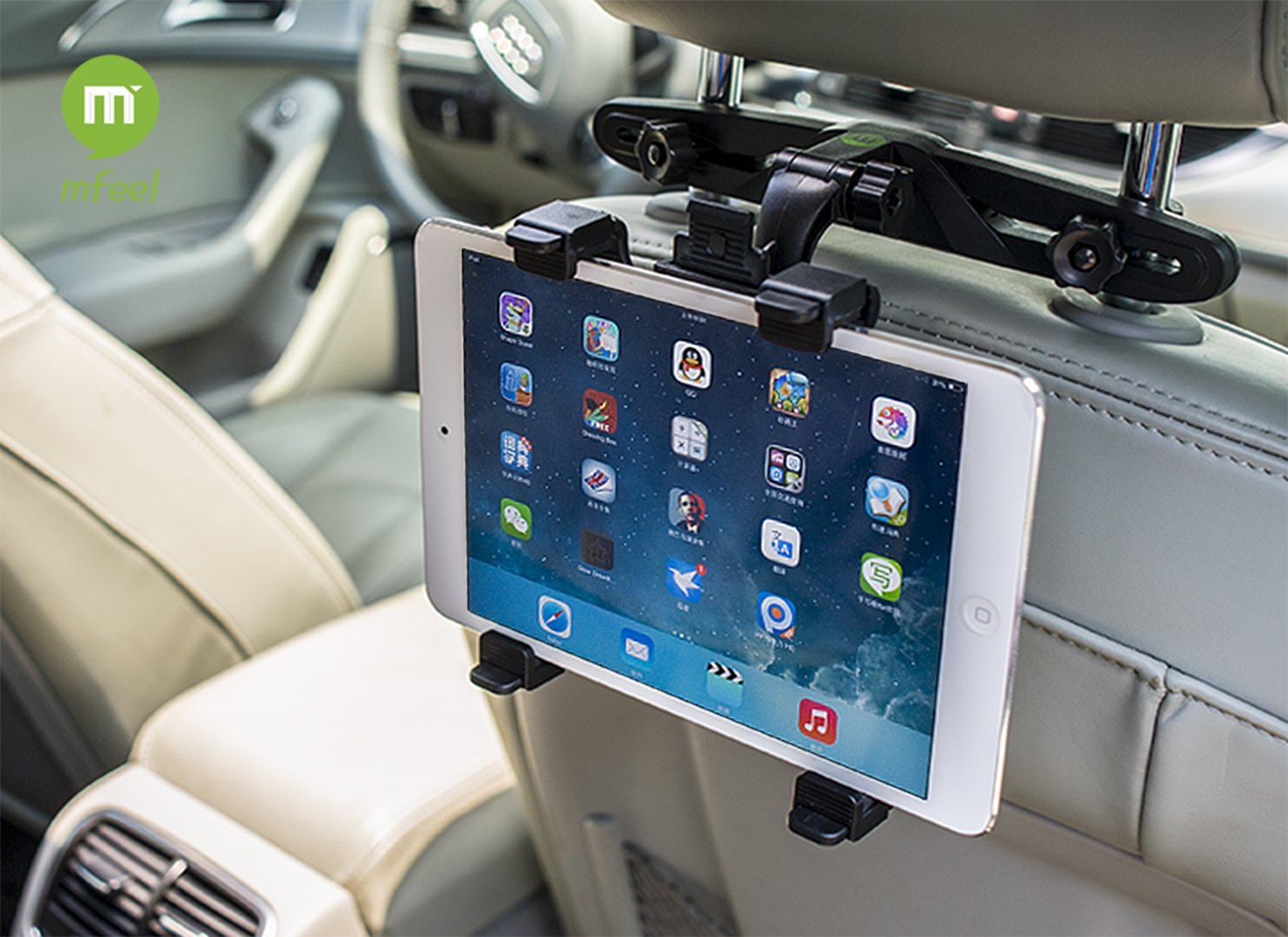 MFEEL Car Back Seat Headrest Mount Holder with 360 Degree Adjustable Rotating Travel Kit for Apple iPad 2, iPad 3, iPad 4, iPad Air, iPad Mini, iPad Mini2, iPad Mini3, Galaxy Note 10.1 - Black 3336401