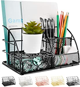 AUPSEN Desk Organizer, Mesh Office Supplies Desk Accessories, Features 5 Compartments + 1 Mini Sliding Drawer(Black)