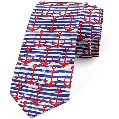 Corbata para hombre, estampado de rayas grunge marino, azul marino ...