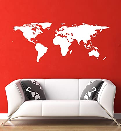 Stickerbrand White World Map Wall Decal Sticker Home Decor Vinyl Wall Art.  Large (21in
