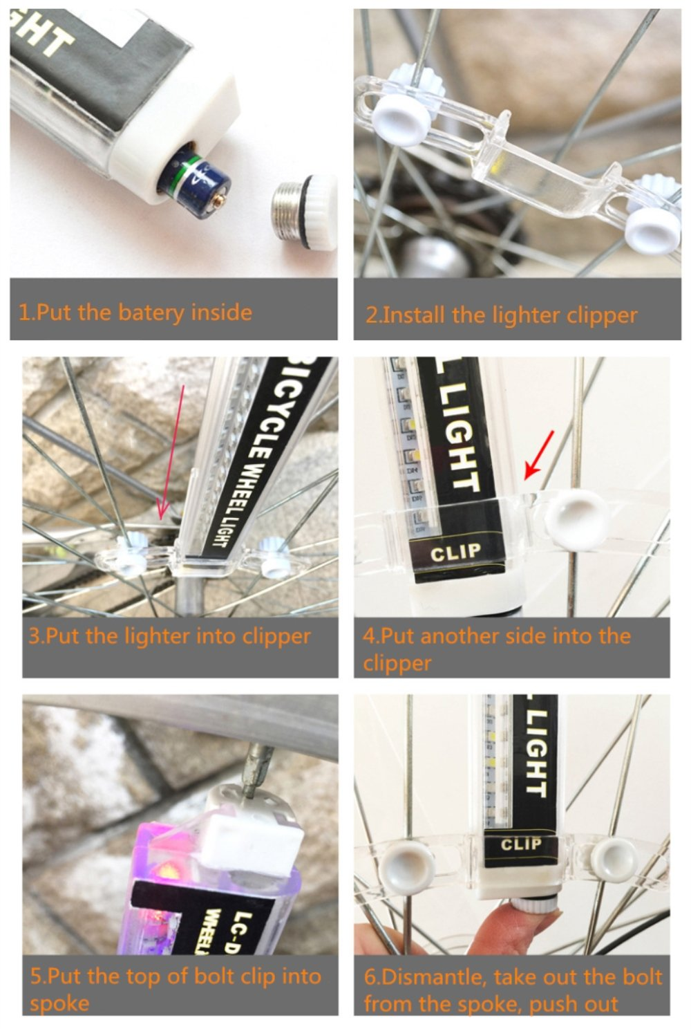 LED Bicycle Wheel Light 42 Styles Bike Spoke Lights Night Rider Decoration Safety & Warning by BuryTony (Image #3)