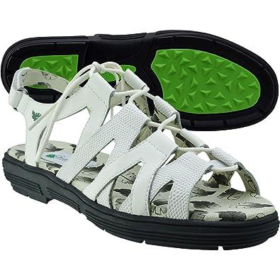6fa7768cdfe190 Greenleaf Women s Strappy Golf Sandals White Medium 6