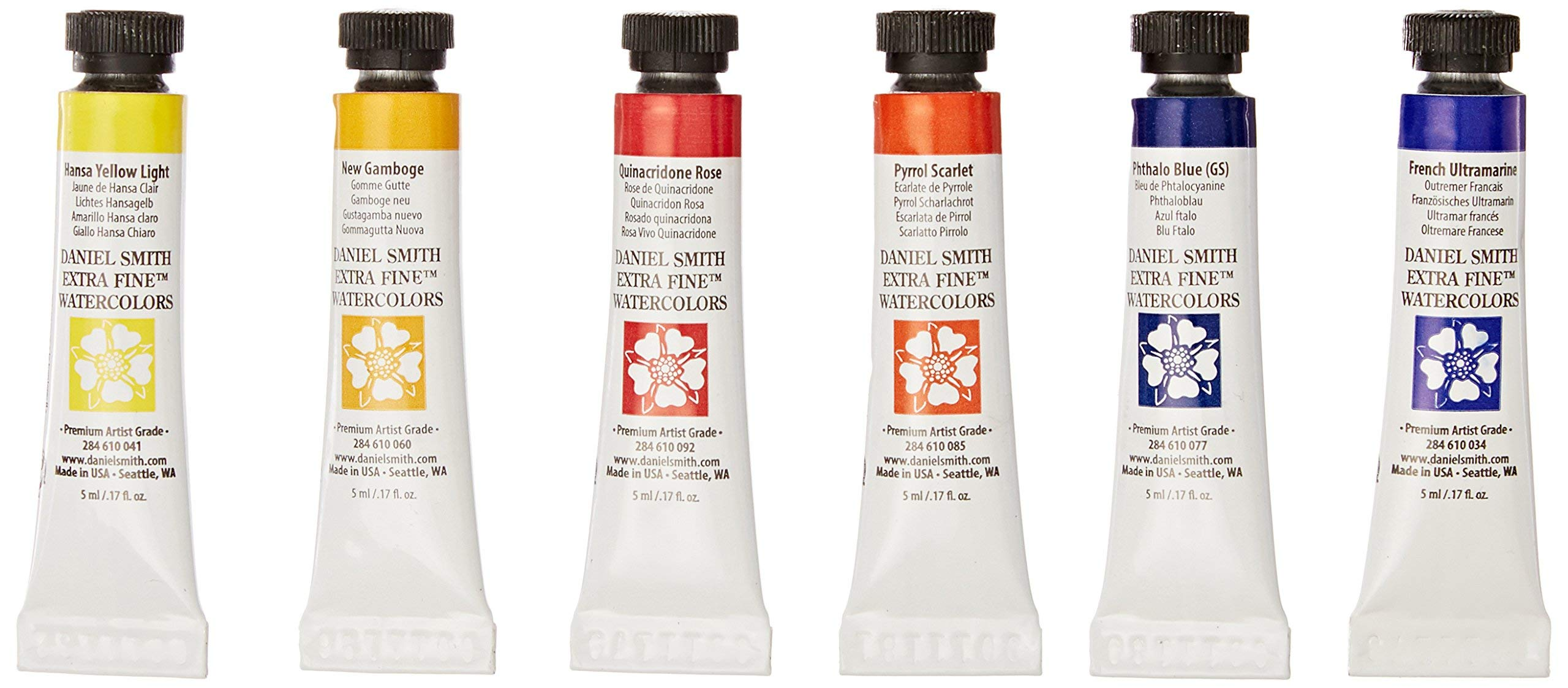 DANIEL SMITH 285610005 Extra Fine Essentials Introductory Watercolor, 6 Tubes, 5ml by DANIEL SMITH