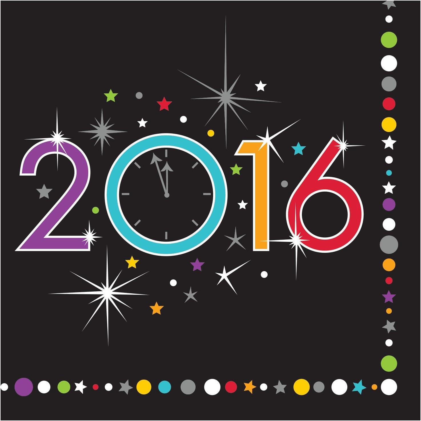 Creative Converting New Year Sparkle Beverage Napkins, Black