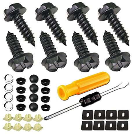 Amazon.com: Kit de tornillos para marco de matrícula, acero ...