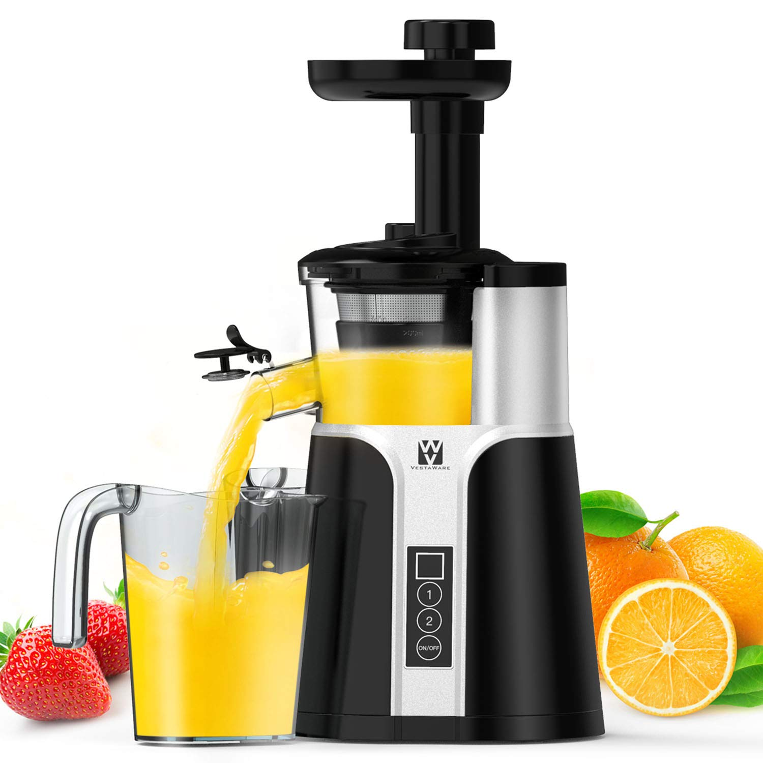 Juicer Machines, Vestaware Slow Masticating Juicer Extractor, Easy to Clean Juicer with Quiet Motor, BPA-Free Cold Press Juicer for Vegetables and Fruits by Vestaware