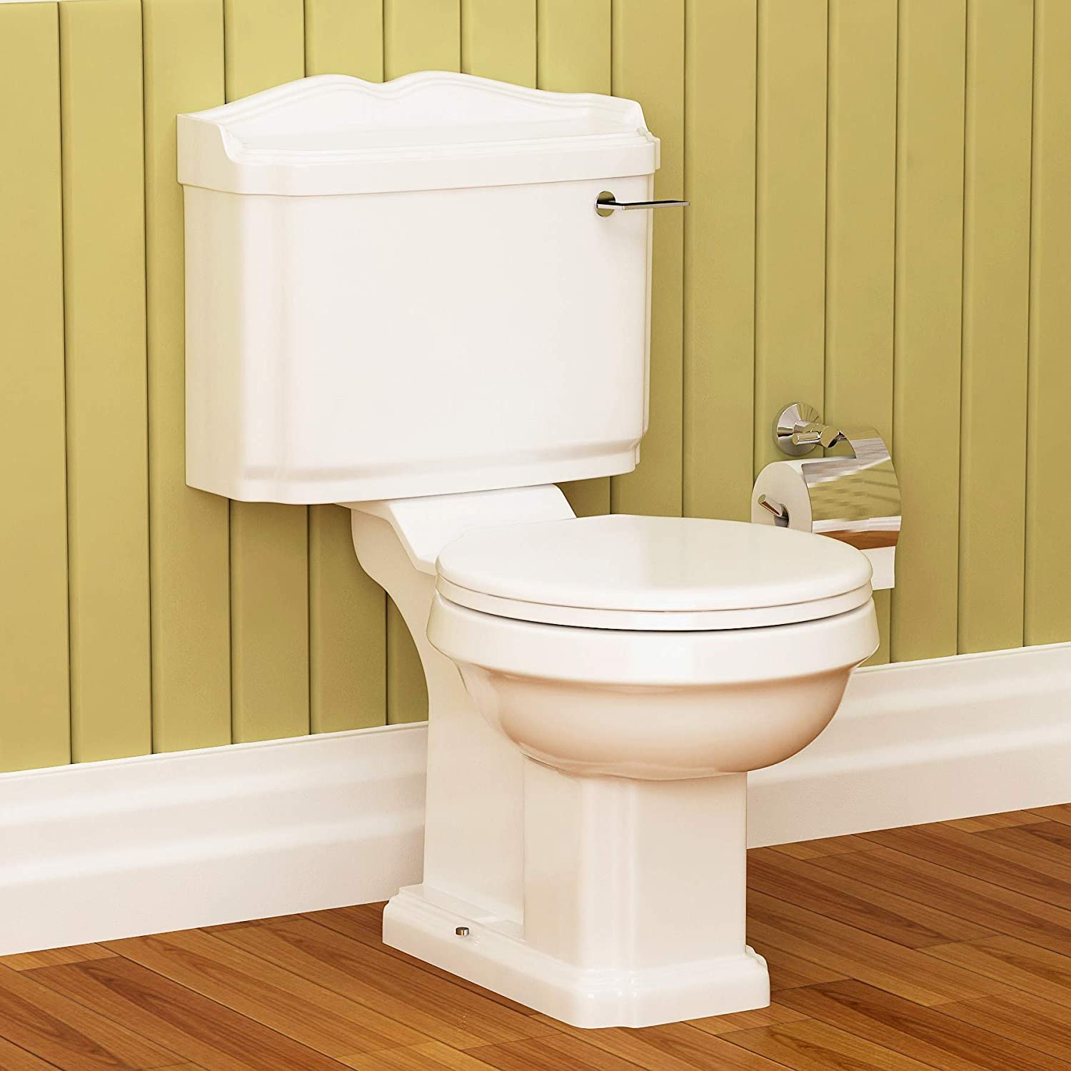 Traditional Legend Semi Flush to Wall Toilet Pan & Cistern with Soft Close Seat Bathroom WC - Gloss White Premier