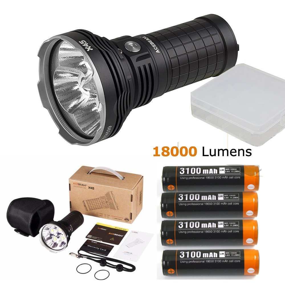 AceBeam X45 Flashlight 18000 Lumens LED Flashlights High Lumens LED Updated Version included Batteries by Acebeam (Image #1)