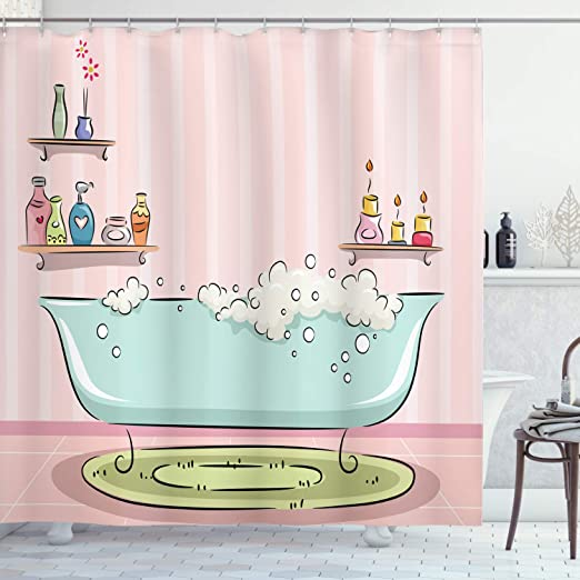 Amazon Com Ambesonne Feminine Shower Curtain Illustration Of A