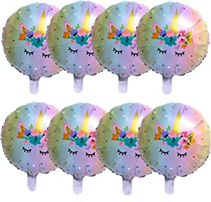 Unicorn Balloons Birthday Party Decorations - Pack of 8,Pink Unicorn Helium Balloon for Unicorn Theme Party Supplies, Baby Shower,Home Office Decor,Birthday Backdrop