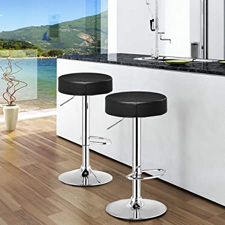 COSTWAY Swivel Bar Stool Round PU Leather Height Adjustable Chair Pub Stool w Chrome Footrest Black, 2 pcs