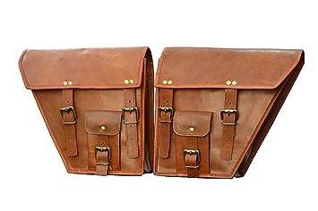 LBH - 2 alforjas laterales para motocicleta, color marrón ...