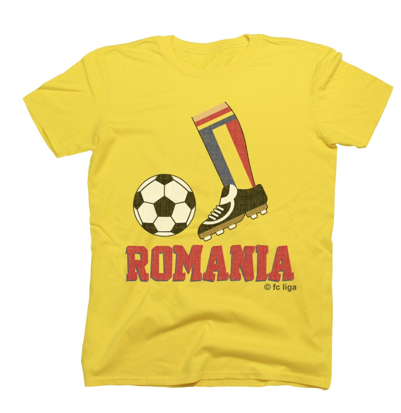 S Football Boot T Shirt Romania Fan Top Euro 2016 4530