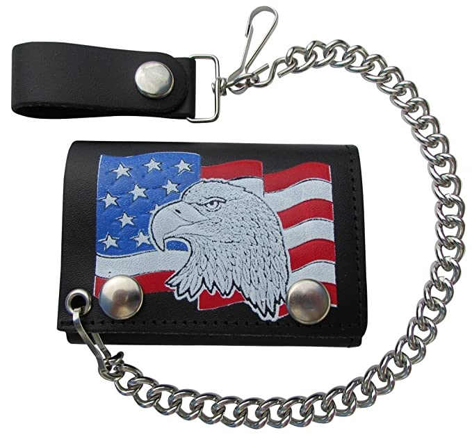 2870efc2629b Mascorro Leather Men's Eagle Head USA Flag Trifold Chain Wallet