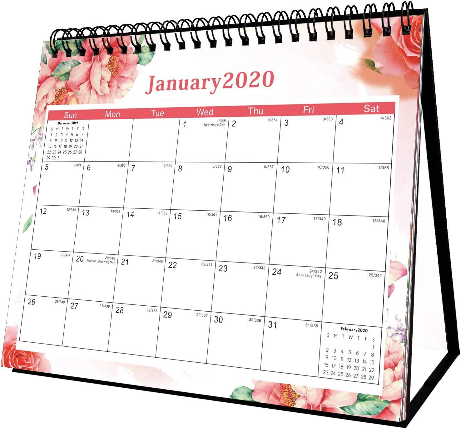 Desktop Calendar - Stand Up Desk Calendar 2020,12 Months Desk Calendar Small Desktop Calender